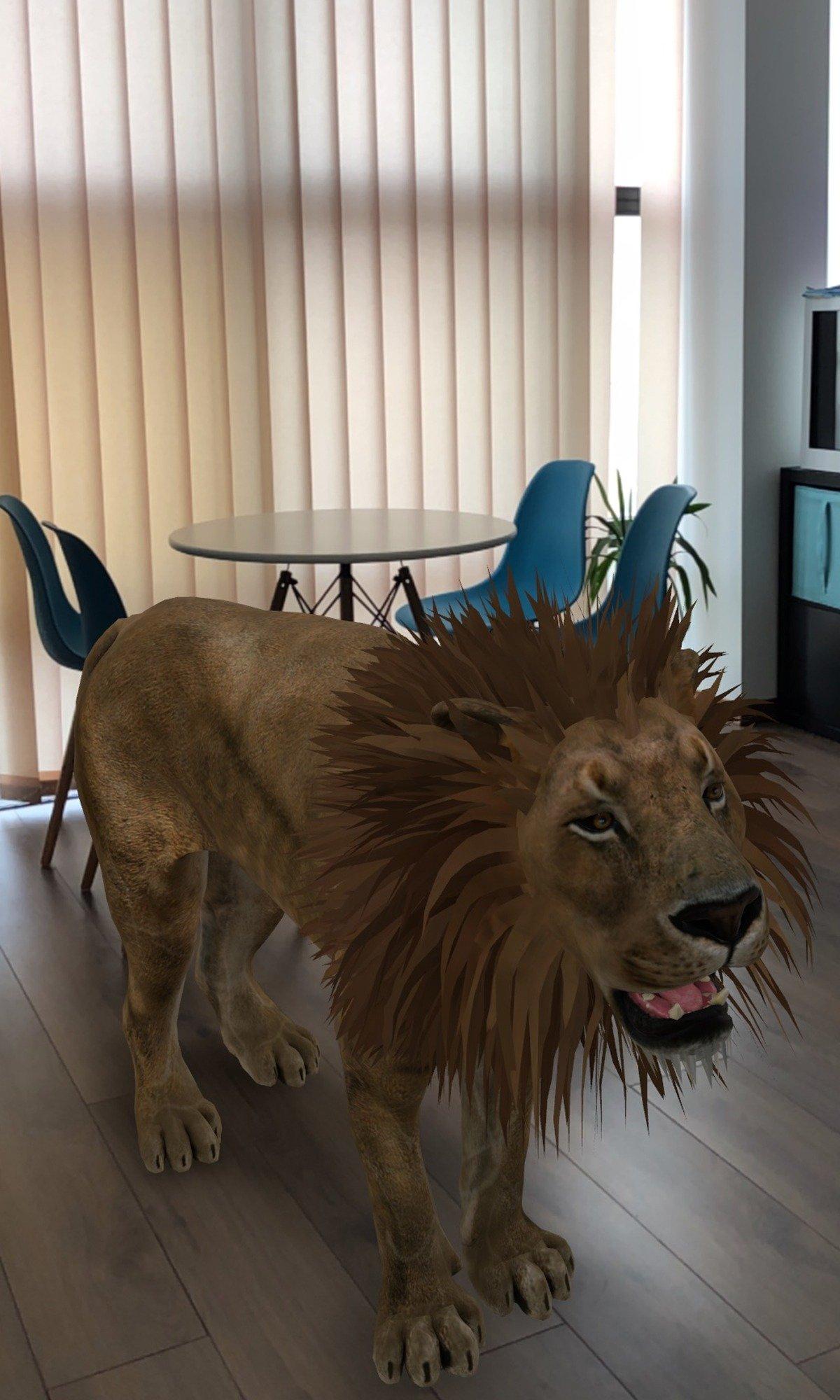 Utilizzo della realtà aumentata con Google Depth e un leone in realtà aumentata