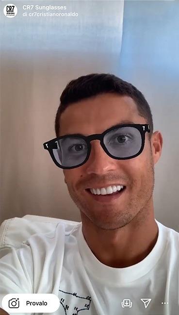 filtro Instagram in realtà aumentata occhiale da sole cristiano ronaldo