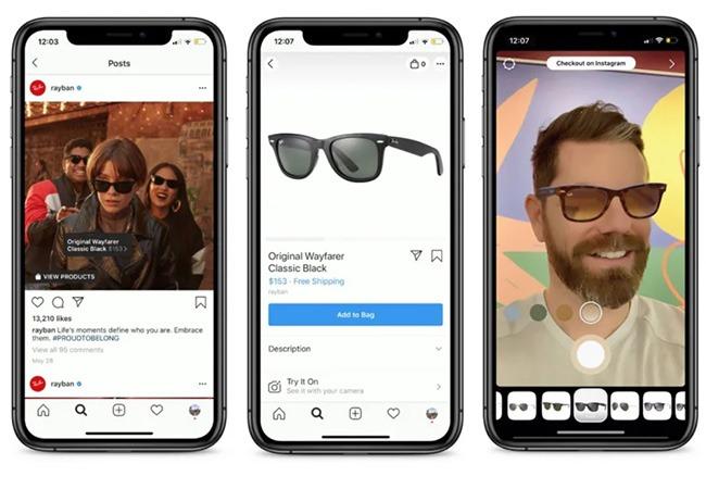 filtro Instagram in realtà aumentata occhiale da sole ray-ban